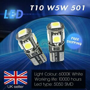 Pair T10 501 W5W LED Canbus Side Indicator License Number Plate Light DRL Bulbs