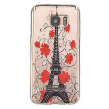 For Samsung Galaxy Note 5 - TPU RUBBER CASE COVER CLEAR RED FLOWERS EIFFEL TOWER