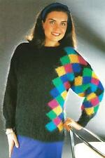"BK230 LADIES MOHAIR ""PIERROT"" DIAMONDS SWEATER KNITTING PATTERN"