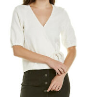 Madewell Texture & Thread Puff Sleeve Wrap Tie Top Shirt Ivory Small NEW