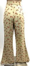 VINTAGE RARE 70s Beige HIGH WAISTED flared VELVET BUTTERFLIES flowers jeans 8 10