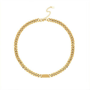 8mm Woman 18K Gold Plated Stainless Steel Cuban Chain Necklace & Bracelet