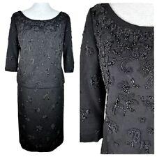 Thayer Sophisticates 50s Black Wool Dress 3/4 Sleeve Top Beaded Pencil Skirt L