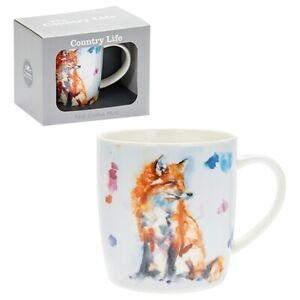 New boxed Fox animal wildlife artistic gift fine china mug coffee cup Free P+P