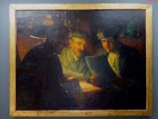 INDISTINCTLY SIGNED HUGE FRENCH Original OIL PAINTING PORTRAIT -THREE GENTLEMAN