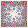 "35x35"" Russian Pavlovo Posad Shawl Wool Pashmina Wrap White/Pink Floral Pattern"
