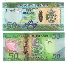 Unc Solomon Islands $50 Dollars (2013) P-30 Hybrid Banknotes Paper Money