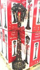 5ft Christmas Victorian Black Glitter Lamp post Indoor Outdoor 140 LED Lights