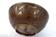Rare Vintage Old Unique Collectible Islamic calligraphy Brass Water Bowl.G3-42