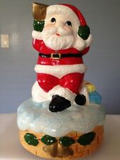 "☀️ Porcelain Santa Collectible Music Box 7"" Figure Plays Jingle Bells Christmas"