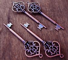 "Skeleton Keys Large Antiqued Copper Steampunk Style 2.75"" Bulk 10pcs Wedding Lot"