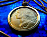 """French Republic Heroine """"Marianne"""" Coin Pendant on a 24"""" Gold Filled Snake Chain"""