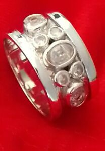 Solid Sterling 925 Silver Handmade LadyJewelry Top Rich White Topaz Band Ring