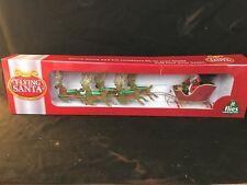 NIB Peter`s Flying Santa Claus Sleigh & Reindeer Moving Tree Topper Ornament