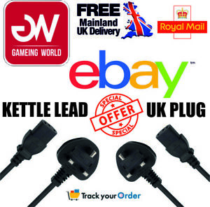 GENUINE POWER/KETTLE LEAD/CABLE UK 3PIN PLUG PC MONITOR COMPUTER HOT SELLER!