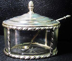 Antique .800 Silver Salt Cellar Vintage Crude Glass w/ Sterling Curved Spoon VTG