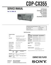 Sony CDP-CX355 CD Player SERVICE Manual Instructions w/ Metal COIL BOUND