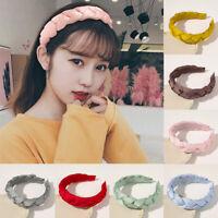 Women Girls Twist Braid Pleated Headbands Hairband Solid Color Hair Accessories