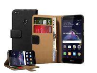 Huawei P8 Lite 2017 Wallet BLACK Leather Flip Case Cover Pouch Saver  +2 FILMS