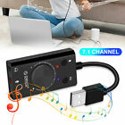 External USB Sound Card Audio Adapter 3.5mm Stereo for Headset Mic PS4 Laptop PC