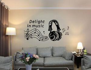 Headphones With Music Wall Art Vinyl Sticker, Decal Any Room UK RUI99