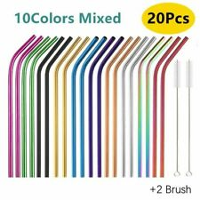 20pcs Metal Reusable 304 Stainless Steel Straws Straight Bent Eco-Friendly Drink
