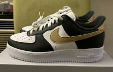 Nike Air Force 1 Low Sneakers Men's Lifestyle Shoes Black White Gold Size 10.5