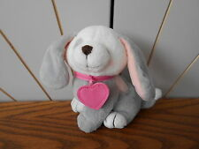 GREY/WHITE DOG PINK HEART COLLAR beanie soft toy plush puppy FOREVER FRIENDS