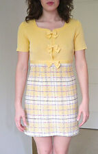Vtg 90s does 60s checked boucle bow ribbed knit pastel mini baby doll dress set