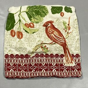 Pottery Barn Medium Accent Pillow Cover/Sham White Bird Embroidered Rare