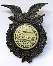 circa 1882 NATIONAL ASSOCIATION OF STATIONARY ENGINEERS USA badge