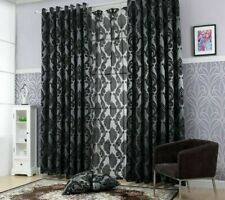 Geometric Tulle Curtains Window Screen Treatments Jacquard Woven Home Decoration