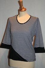 T-Shirt Streifen und Strass 3/4 Arm Sweatshirt 36 38 40 42 44 46 48 neu 856
