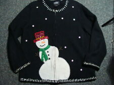 BEAUTIFUL DESIGNERS ORIGINALS STUDIO JOY Christmas Sweater Sz L Snowman EUC
