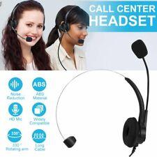 Wired Headset Boom Mic Telephone Operator Headphone Noise Canceling Call Center
