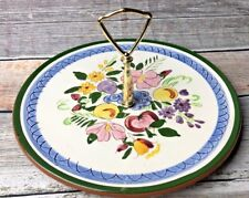 Stangl Fruit And Flowers Metal Handle Candy or Snack Plate serving