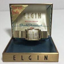 Vtg Mens ELGIN In Art Deco Case Town & Country Metal Band 10K RGP Bezel USA
