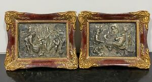 Antique Pair Signed 900 Silver Relief Repousse Framed Miniature Artwork