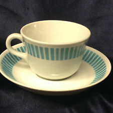 ARABIA OF FINLAND CUP & SAUCER 6 OZ BLUE BANDS STRIPES DASHES ON WHITE