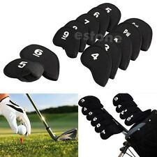10pcs Golf Head Cover Club Iron Putter Head Protector Set Neoprene Black Cheaply