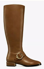 NIB Tory Burch Sofia Festival Brown Tall Leather Low Heel Riding Boots 8.5 M