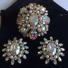 Vintage Schreiner N.Y Brooch Pendant & Earrings Set-AB/Clear RS/Pearls/Goldtone