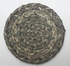 """Set of 4 Homespice Decor PEWTER Gray Braided Jute 4"""" Coasters"""