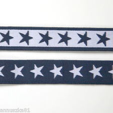 Gummiband Marineblau Weiße Sterne 20 mm breit - Gummibänder mit Sternen