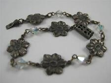 """7"""" Silverplated Brass Stamped Flower AB Crystal Bead Bracelet Unique!"""