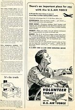 1949 United States U.S. Air Force Volunteer Today Ad USAF ARMY Recruting Service