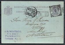 Surinam 1905 Pc Suriname Via Plymouth