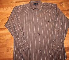Panhandle Slim Western Cowboy RED Pearl Snap Button Blue Shirt SZ-16X34