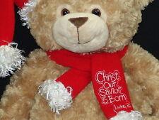 NEW BIG CHRISTIAN BIBLE VERSE JESUS CHRIST OUR SAVIOR BORN PLUSH BEAR LUKE 2