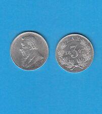 § Afrique du Sud South Africa Paul Kruger 3 Pence argent 1897 Superbe qualité